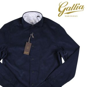 Gallia 長袖シャツ メンズ 秋冬 41/XL ネイビー 紺 コーデュロイ ガリア 並行輸入品|utsubostock