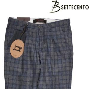 【38】 B SETTECENTO ビーセッテチェント ウールパンツ メンズ 秋冬 チェック グレー 灰色 並行輸入品 ズボン 大きいサイズ|utsubostock