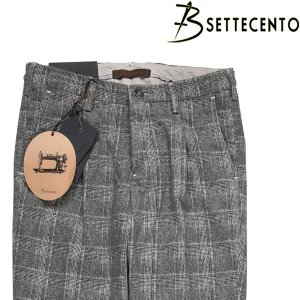 【32】 B SETTECENTO ビーセッテチェント コットンパンツ メンズ チェック グレー 灰色 並行輸入品 ズボン|utsubostock