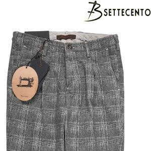 【33】 B SETTECENTO ビーセッテチェント コットンパンツ メンズ チェック グレー 灰色 並行輸入品 ズボン|utsubostock