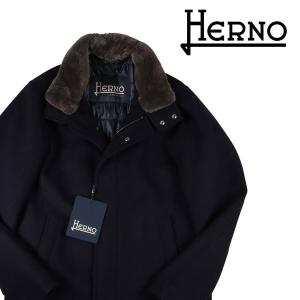 HERNO コート メンズ 秋冬 50/XL ネイビー 紺 毛皮付 メルトン TECH CA0071U ヘルノ 並行輸入品|utsubostock