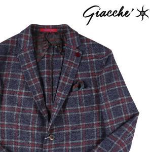 【52】 GIACCHE ジャッケ ジャケット メンズ 秋冬 チェック ネイビー 紺 並行輸入品 アウター トップス 大きいサイズ|utsubostock