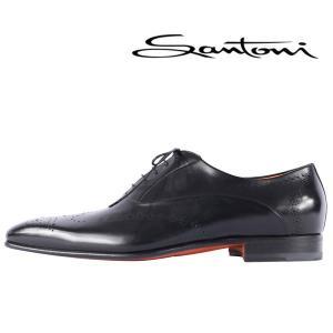 【7】 SANTONI サントーニ 革靴 メンズ ブラック 黒 レザー 並行輸入品|utsubostock