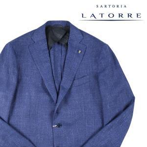 【52】 Sartoria Latorre サルトリア・ラトーレ ジャケット メンズ 春夏 シルク混 ブルー 青 並行輸入品 アウター トップス 大きいサイズ|utsubostock