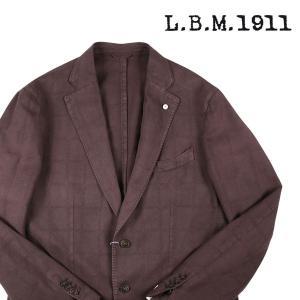 【52】 L.B.M.1911 エルビーエム ジャケット 75707 メンズ 春夏 リネン混 チェック ブラウン 茶 並行輸入品 アウター トップス 大きいサイズ|utsubostock