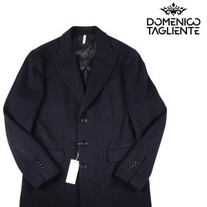 【54】 Domenico Tagliente ドメニコ・タリエンテ チェスターコート メンズ 秋冬 カシミヤ混 ブラック 黒 並行輸入品 アウター トップス 大きいサイズ|utsubostock