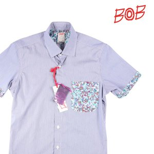 【S】 BOB ボブ 半袖シャツ TUTOR80 メンズ 春夏 チェック ネイビー 紺 並行輸入品 カジュアルシャツ|utsubostock