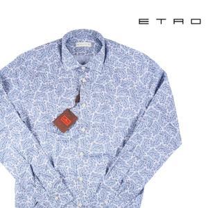 【44】 ETRO エトロ 長袖シャツ メンズ ペイズリー ブルー 青 並行輸入品 カジュアルシャツ 大きいサイズ|utsubostock