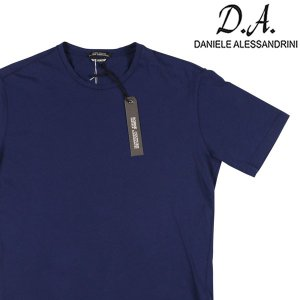 【S】 Daniele Alessandrini ダニエレアレッサンドリーニ Uネック半袖Tシャツ メンズ 春夏 ネイビー 紺 並行輸入品 トップス|utsubostock