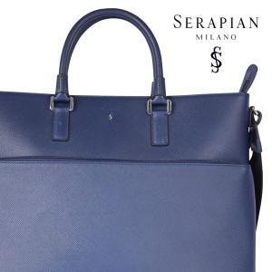 SERAPIAN セラピアン ブリーフケース メンズ ブルー 青 レザー 並行輸入品|utsubostock