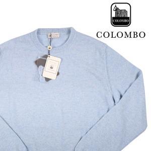 【50】 COLOMBO コロンボ 丸首セーター メンズ 秋冬 キッドカシミヤ100% ブルー 青 並行輸入品 ニット|utsubostock