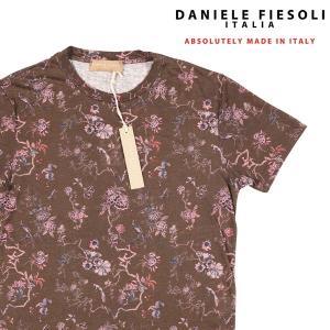【M】 DANIELE FIESOLI ダニエレフィエゾーリ Uネック半袖Tシャツ メンズ 春夏 リネン100% 花柄 ブラウン 茶 並行輸入品 トップス|utsubostock