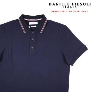 【L】 DANIELE FIESOLI ダニエレフィエゾーリ 半袖ポロシャツ メンズ 春夏 ネイビー 紺 並行輸入品 トップス|utsubostock
