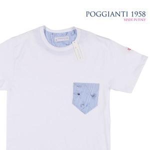 【S】 POGGIANTI 1958 ポジャンティ 1958 Uネック半袖Tシャツ メンズ 春夏 刺繍 ストライプ ホワイト 白 並行輸入品 トップス|utsubostock