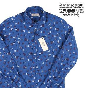 【L】 SEEKER GROOVE シーカーグルーブ 長袖シャツ メンズ 春夏 リネン100% 花柄 ブルー 青 並行輸入品 カジュアルシャツ|utsubostock