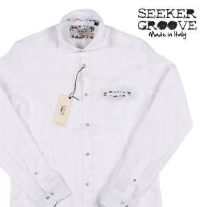 【XL】 SEEKER GROOVE シーカーグルーブ 長袖シャツ メンズ 春夏 リネン100% ホワイト 白 並行輸入品 カジュアルシャツ|utsubostock