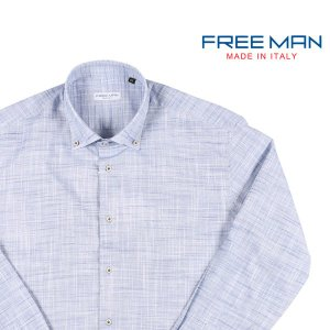【XL】 FREEMAN SARTORIA フリーマンサルトリア 長袖シャツ メンズ 春夏 ブルー 青 並行輸入品 カジュアルシャツ|utsubostock