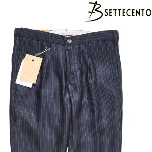 【32】 B Settecento ビーセッテチェント パンツ メンズ 春夏 ストライプ ネイビー 紺 並行輸入品 ズボン|utsubostock