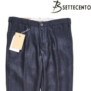 【34】 B Settecento ビーセッテチェント パンツ メンズ 春夏 ストライプ ネイビー 紺 並行輸入品 ズボン 大きいサイズ|utsubostock