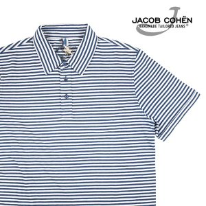 【L】 JACOB COHEN ヤコブコーエン 半袖ポロシャツ J4057 メンズ 春夏 ボーダー ベージュ 並行輸入品 トップス|utsubostock