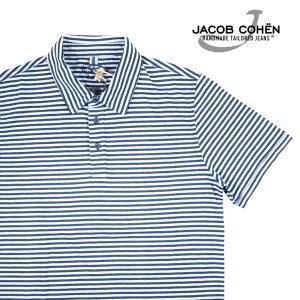 【L】 JACOB COHEN ヤコブコーエン 半袖ポロシャツ J4057 メンズ 春夏 ボーダー ホワイト 白 並行輸入品 トップス 【訳あり】|utsubostock