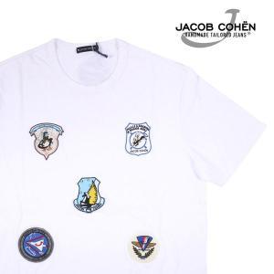 【L】 JACOB COHEN ヤコブコーエン Uネック半袖Tシャツ J4042P メンズ 春夏 ホワイト 白 並行輸入品 トップス|utsubostock