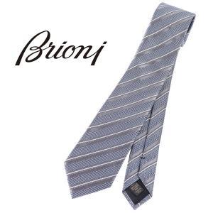 Brioni ブリオーニ ネクタイ O61D00 P2M03 0003 メンズ シルク100% ストライプ ブルー 青 並行輸入品|utsubostock