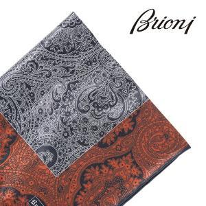Brioni(ブリオーニ) ポケットチーフ オレンジ x シルバー 20082or 【A20084】|utsubostock