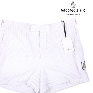 【5】 MONCLER GAMME BLEU モンクレールガムブルー ハーフパンツ メンズ 春夏 シアサッカー ホワイト 白 並行輸入品 ズボン 大きいサイズ|utsubostock