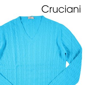 【50】 CRUCIANI クルチアーニ Vネックセーター メンズ 秋冬 カシミヤ100% ターコイズブルー 並行輸入品 ニット utsubostock