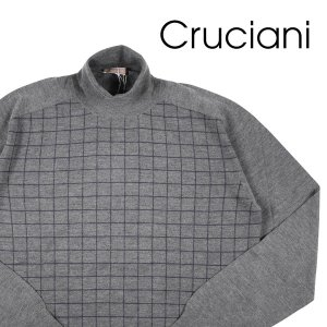 【56】 CRUCIANI クルチアーニ タートルネックセーター メンズ 秋冬 カシミヤ混 チェック グレー 灰色 並行輸入品 ニット 大きいサイズ|utsubostock