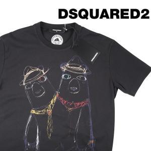 【L】 DSQUARED2 ディースクエアード Uネック半袖Tシャツ S74GD0335 メンズ 春夏 ブラック 黒 並行輸入品 トップス|utsubostock