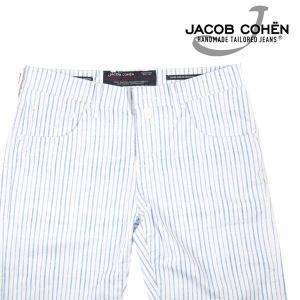 【34】 JACOB COHEN ヤコブコーエン ハーフパンツ J6636 メンズ 春夏 ストライプ ホワイト 白 並行輸入品 ズボン 大きいサイズ|utsubostock