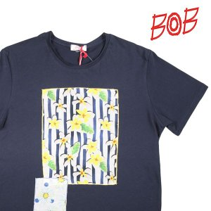 【L】 BOB ボブ Uネック半袖Tシャツ BETTY メンズ 春夏 花柄 ネイビー 紺 並行輸入品 トップス utsubostock