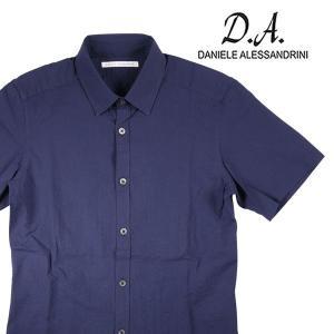 【42】 Daniele Alessandrini ダニエレアレッサンドリーニ 半袖シャツ メンズ ネイビー 紺 並行輸入品 カジュアルシャツ 大きいサイズ|utsubostock