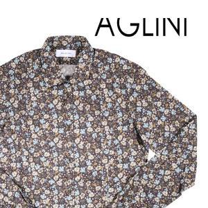 AGLINI(アリーニ) 長袖シャツ KUNZIO ブラウン 44 20497 【A20499】|utsubostock