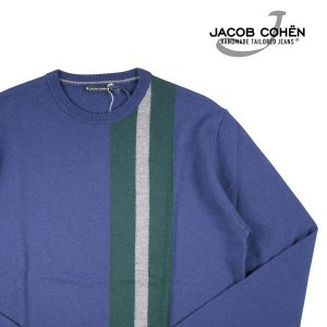 【XXL】 JACOB COHEN ヤコブコーエン 丸首セーター J1108 メンズ 秋冬 ネイビー 紺 並行輸入品 ニット 大きいサイズ|utsubostock