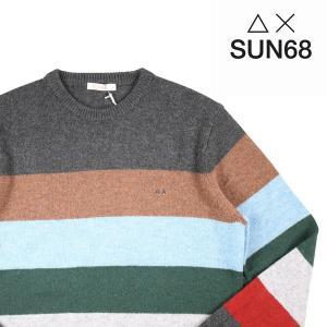 【XL】 SUN68 サンシックスティーエイト 丸首セーター メンズ 秋冬 ボーダー マルチカラー 並行輸入品 ニット|utsubostock