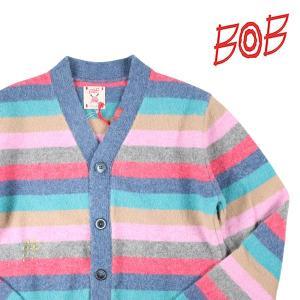 【S】 BOB ボブ カーディガン DRIPPLE メンズ 秋冬 刺繍 ボーダー ピンク 並行輸入品 ニット|utsubostock