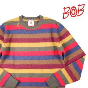 【M】 BOB ボブ 丸首セーター DROOPY メンズ 秋冬 刺繍 ボーダー マルチカラー 並行輸入品 ニット utsubostock