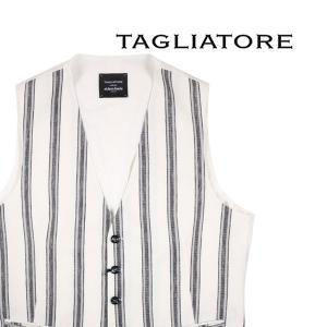 【50】 TAGLIATORE タリアトーレ ジレ BRIAN/F メンズ 春夏 リネン混 ホワイト 白 並行輸入品 ベスト utsubostock