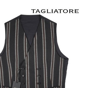 【48】 TAGLIATORE タリアトーレ ジレ KLAUS/F メンズ 秋冬 ストライプ ブラック 黒 並行輸入品 ベスト utsubostock