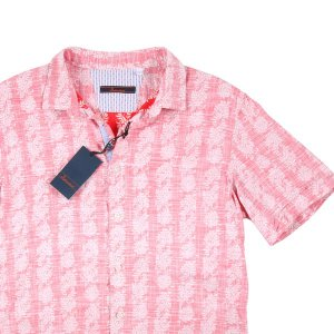 【L】 Indiuidual インディビデュアル 半袖シャツ メンズ 春夏 総柄 レッド 赤 並行輸入品 カジュアルシャツ|utsubostock