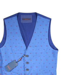 【50】 Indiuidual インディビデュアル ジレ メンズ 総柄 ブルー 青 並行輸入品 ベスト|utsubostock