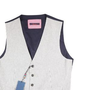 【50】 Indiuidual インディビデュアル ジレ メンズ ストライプ ホワイト 白 並行輸入品 ベスト|utsubostock