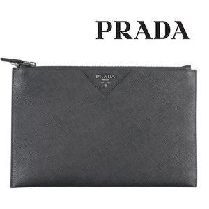 PRADA プラダ クラッチバッグ 2NG05V メンズ ブラック 黒 レザー 並行輸入品|utsubostock