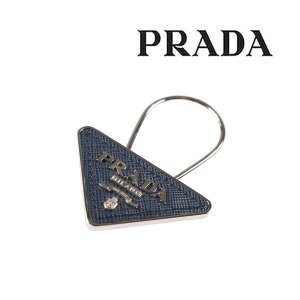 PRADA プラダ キーリング 2PP301 メンズ ネイビー 紺 レザー 並行輸入品|utsubostock