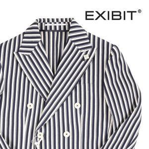 【44】 EXIBIT エグジビット ジャケット メンズ 春夏 ストライプ ネイビー 紺 並行輸入品 アウター トップス|utsubostock