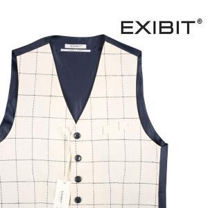 【M】 EXIBIT エグジビット ジレ メンズ 春夏 チェック ホワイト 白 並行輸入品 ベスト|utsubostock