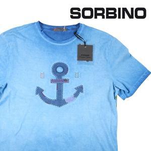 【M】 SORBINO ソルビーノ Uネック半袖Tシャツ メンズ 春夏 刺繍 ブルー 青 並行輸入品 トップス|utsubostock